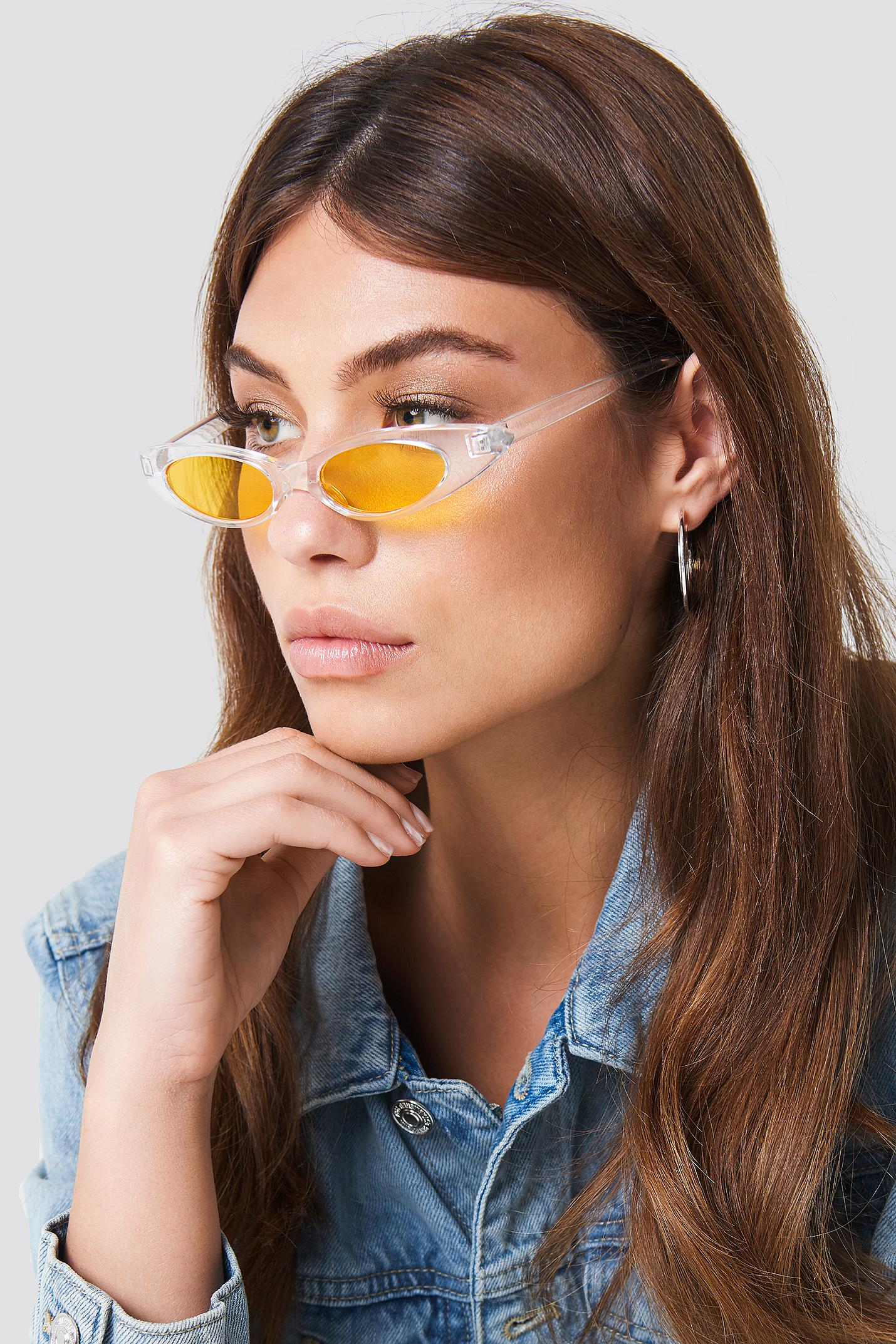 na-kd accessories -  Slim Retro Cateye Sunglasses - White,Yellow
