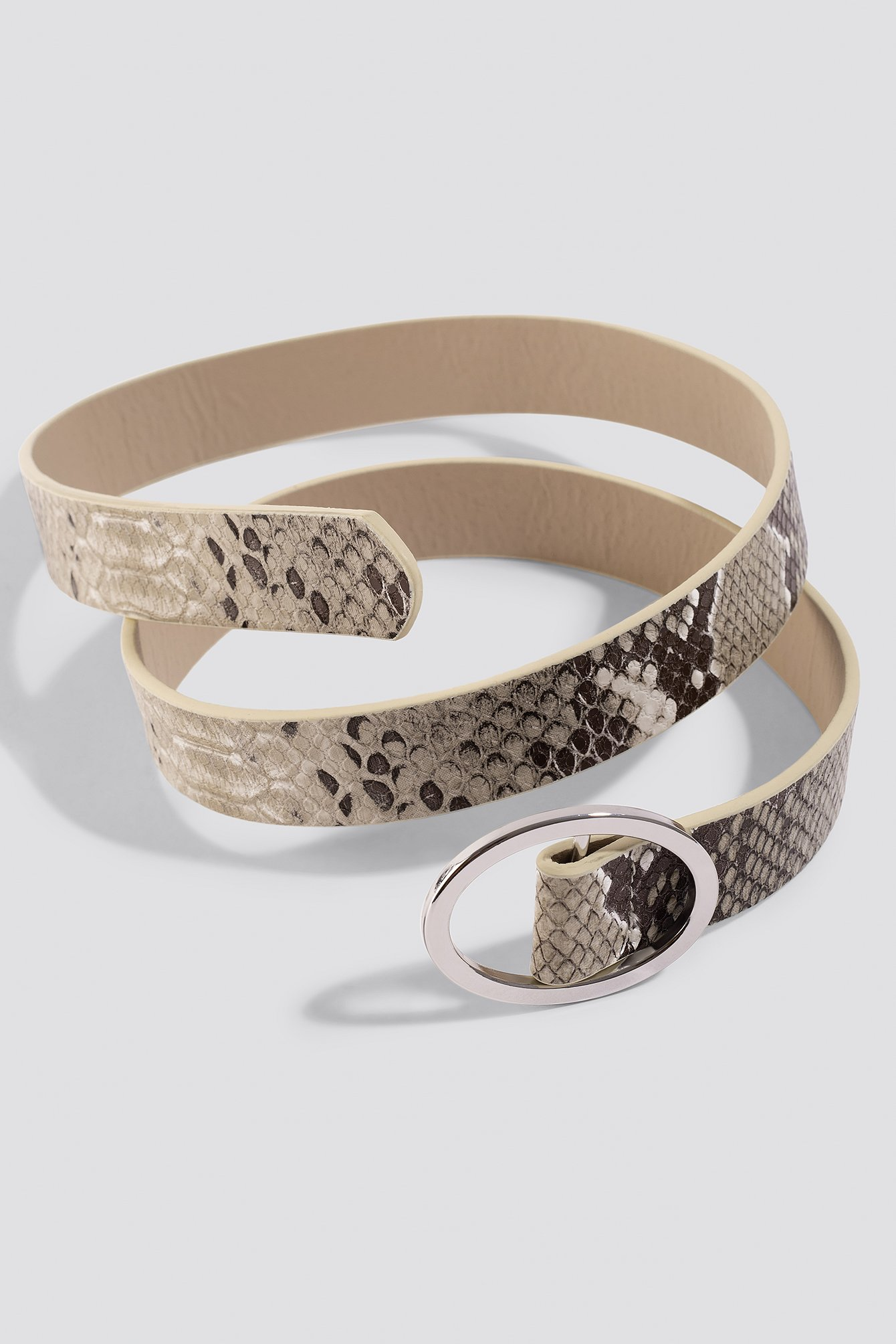 na-kd accessories -  Slim Snake Belt - Brown,Grey