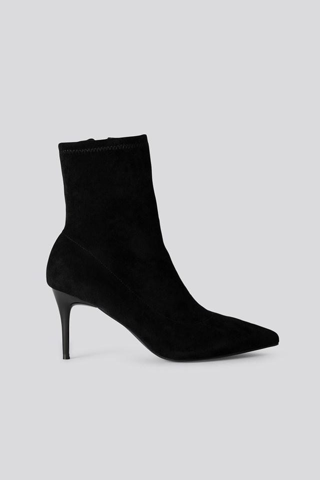 Slim Stiletto Pointy Boots Black
