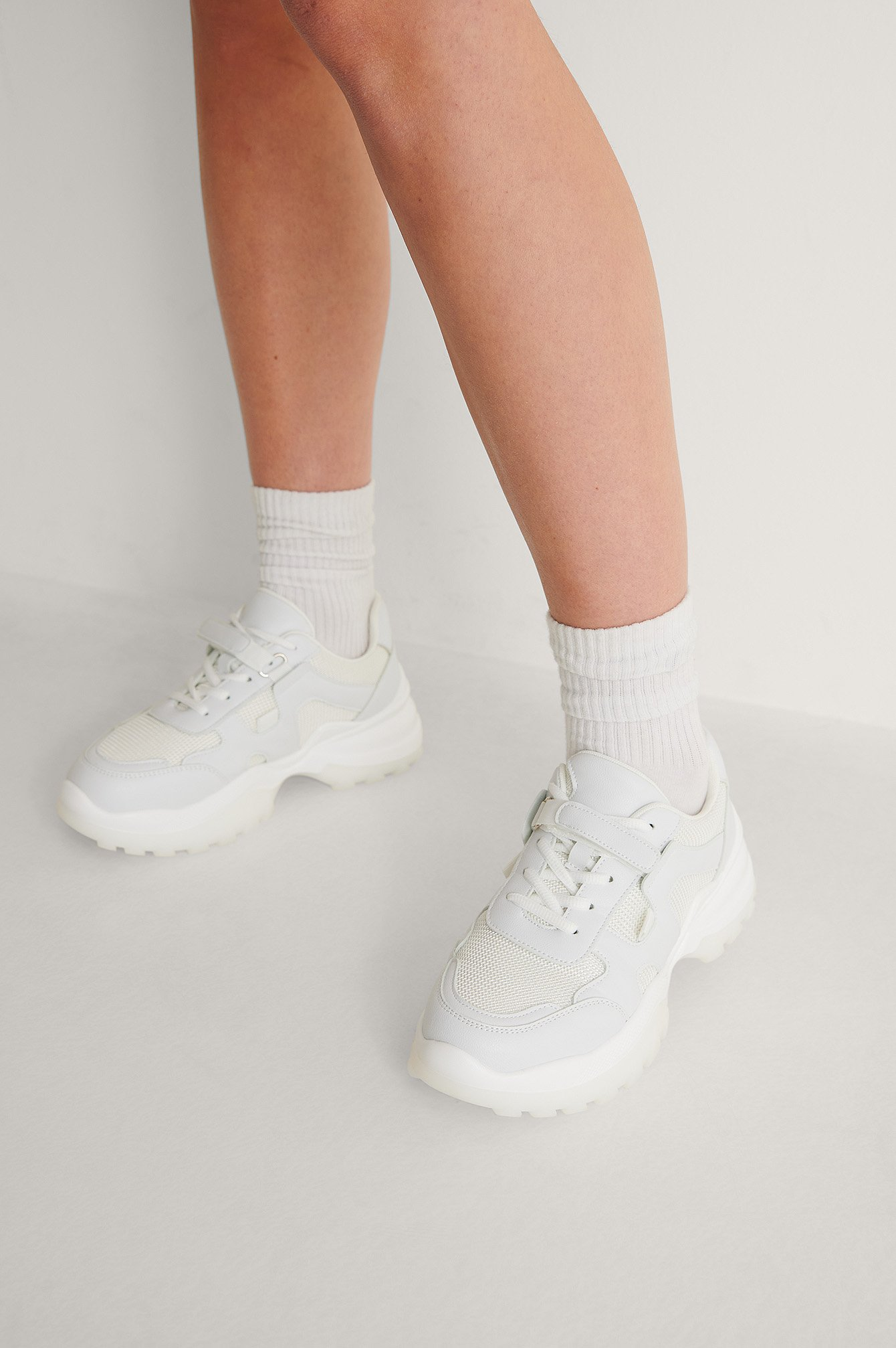 White Slim Velcro Strap Trainers