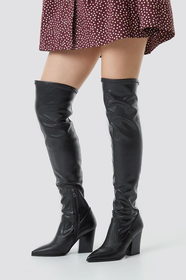 Slim Western Overknee Boots Black