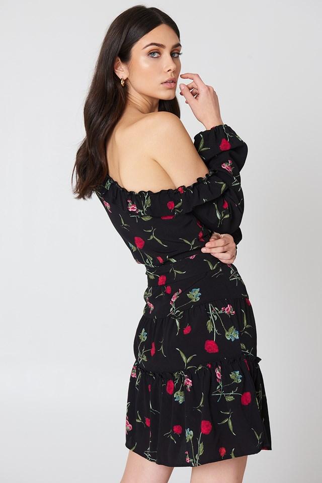 Slip Shoulder Balloon Sleeve Dress Black/Flower Print