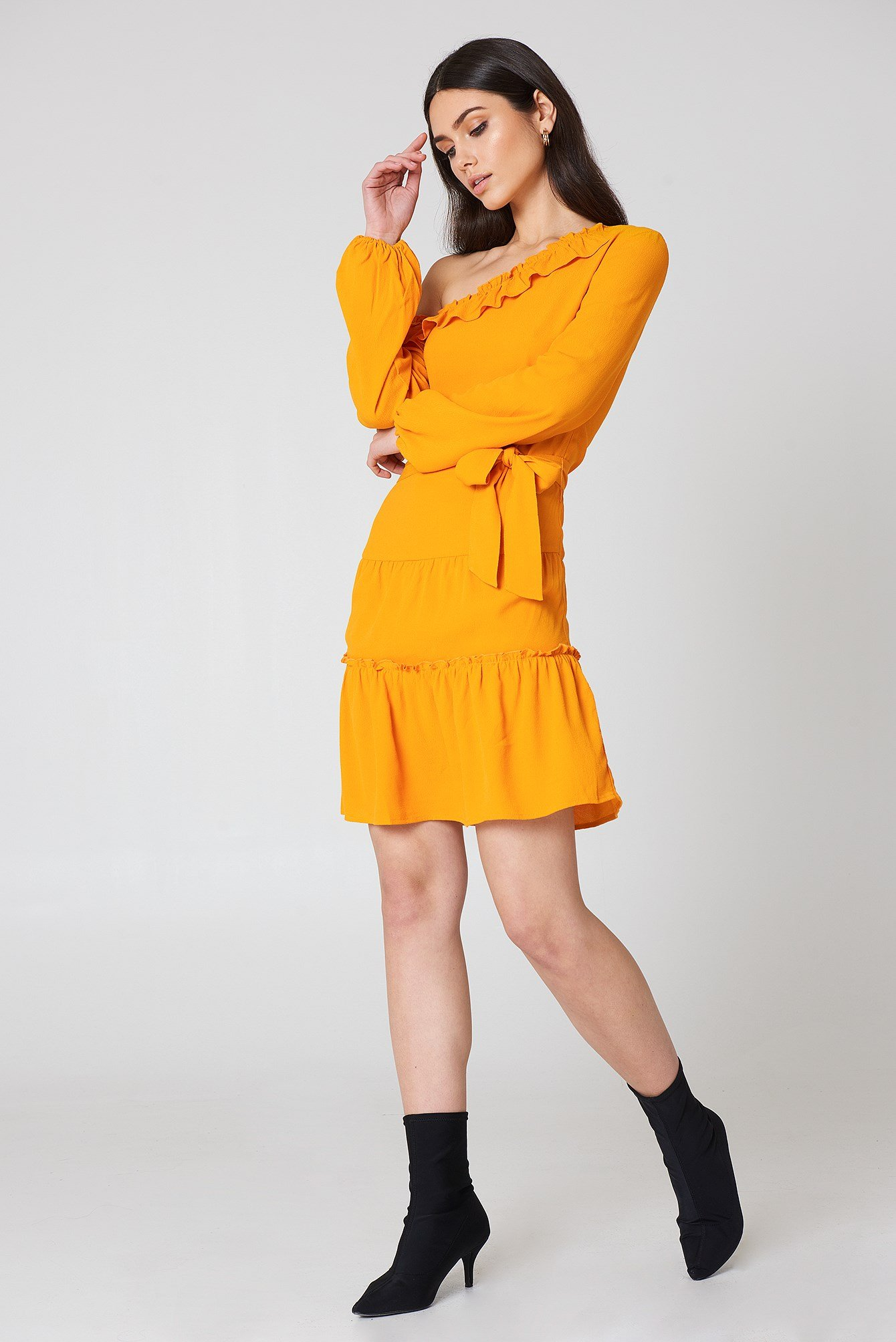 Slip Shoulder Balloon Sleeve Dress NA-KD.COM