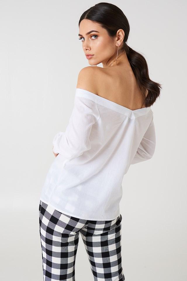 Slip Shoulder Shirt White
