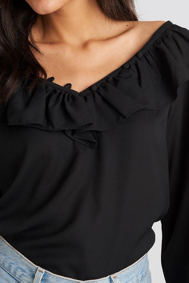 Slip Shoulder Flounce Blouse Black