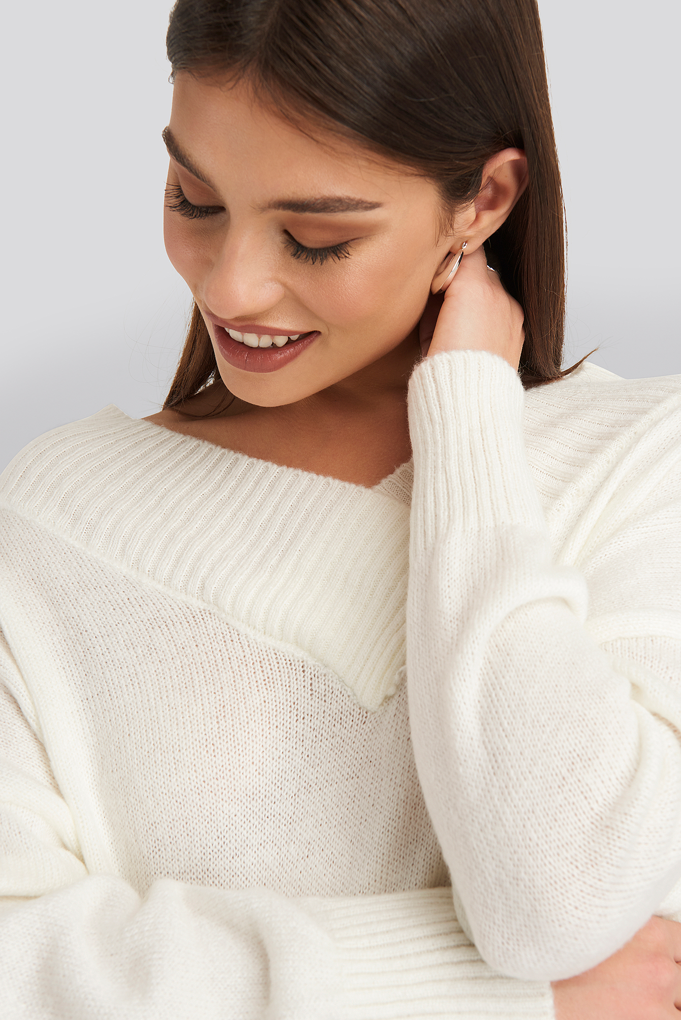 Offwhite Slip Shoulder Knitted Sweater