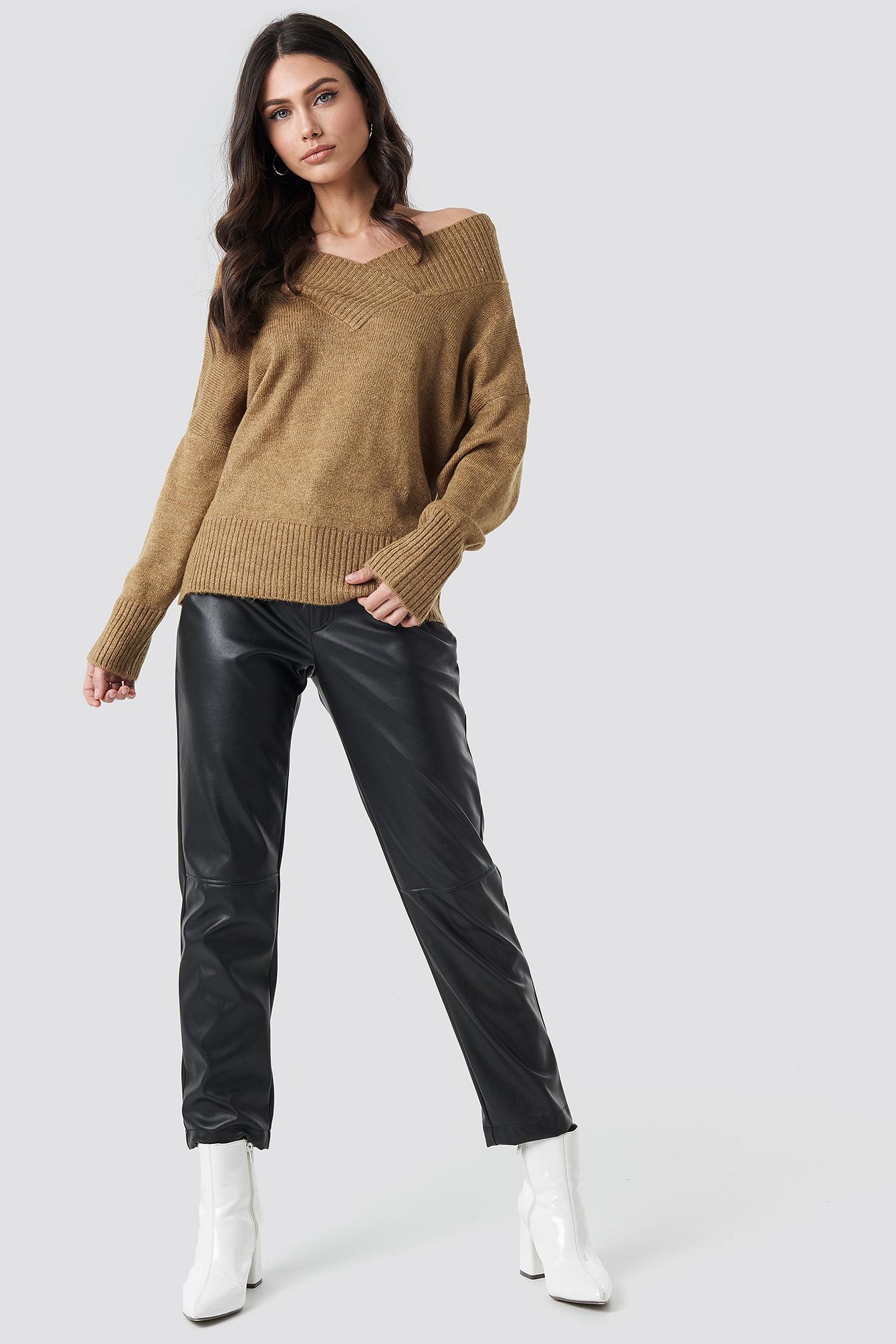 Slip Shoulder Knitted Sweater NA-KD.COM