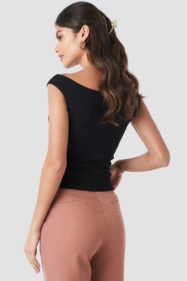 Slip Shoulder Ribbed Top Black