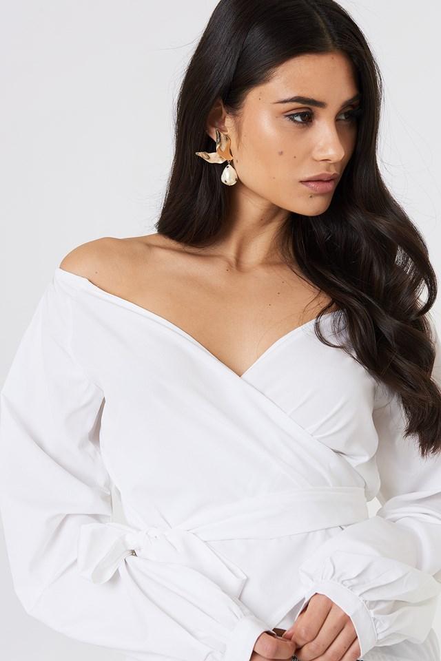 Slip Shoulder Tie Waist Shirt White