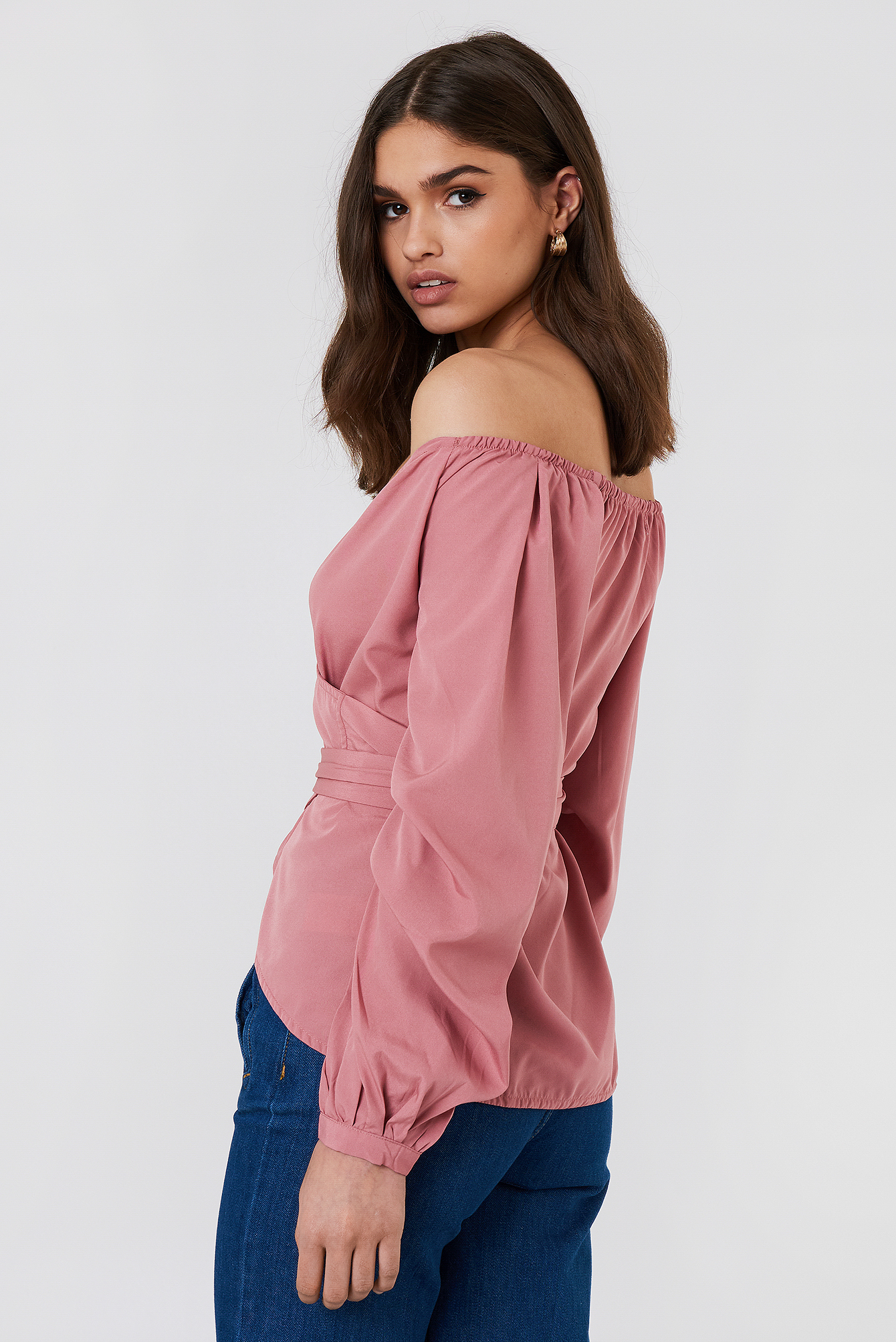 Slip Shoulder Tie Waist Shirt NA-KD.COM