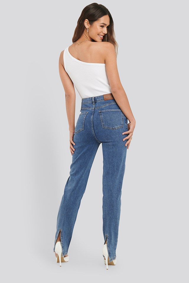 Slit Back Denim Mid Blue Wash