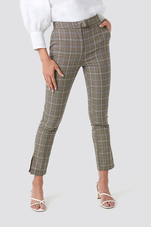 Slit Detail Suit Pants Checkered