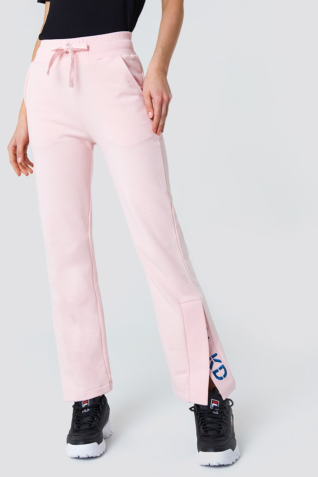 Slit Embroidery Sweatpants Light Pink