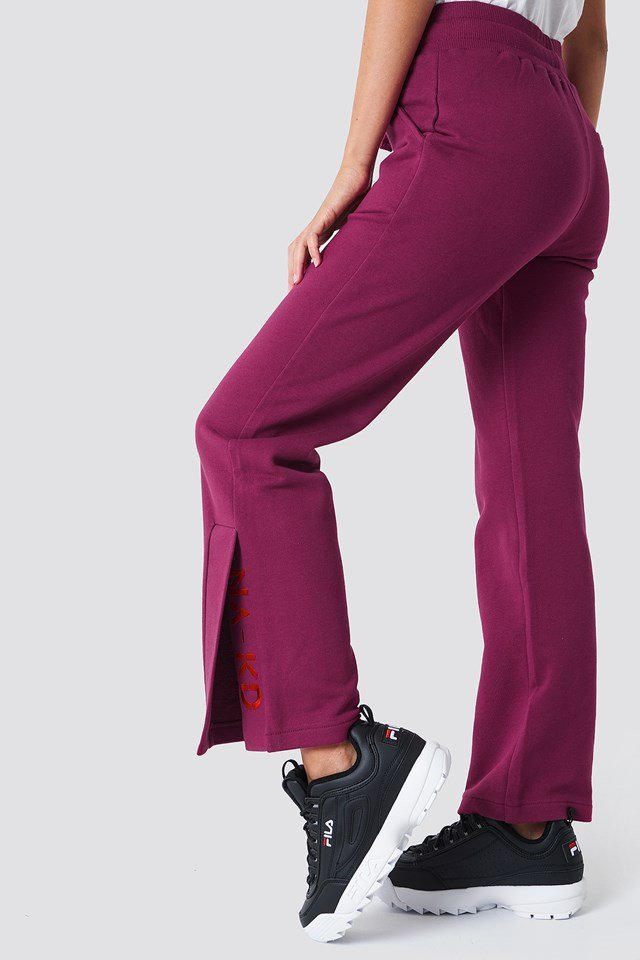 Slit Embroidery Sweatpants Burgundy