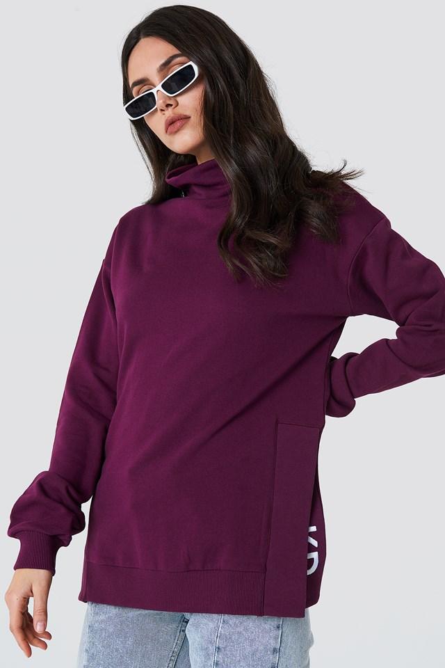 Slit Embroidery Sweatshirt Bordeaux