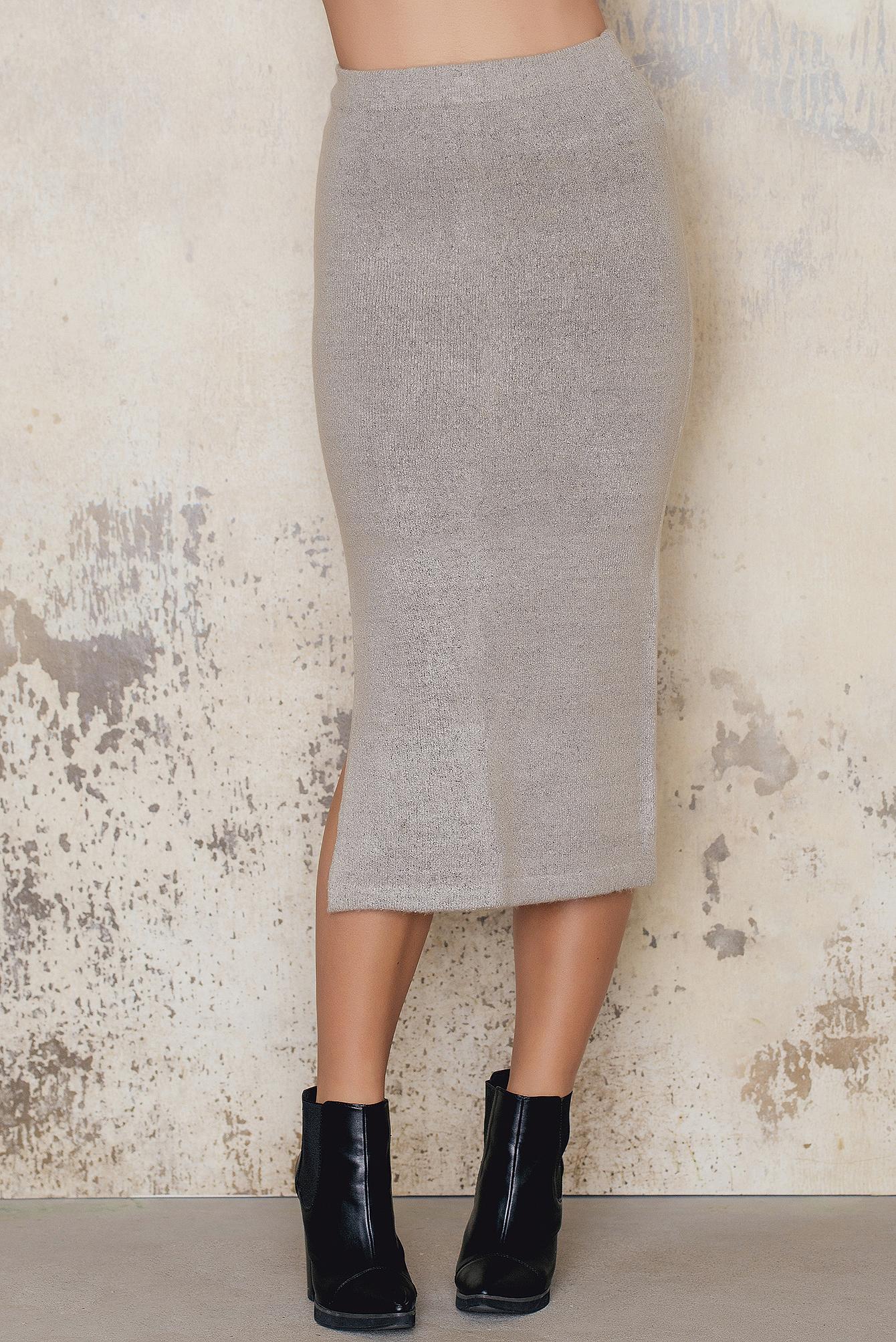 Slit Midi Knitted Skirt NA-KD.COM