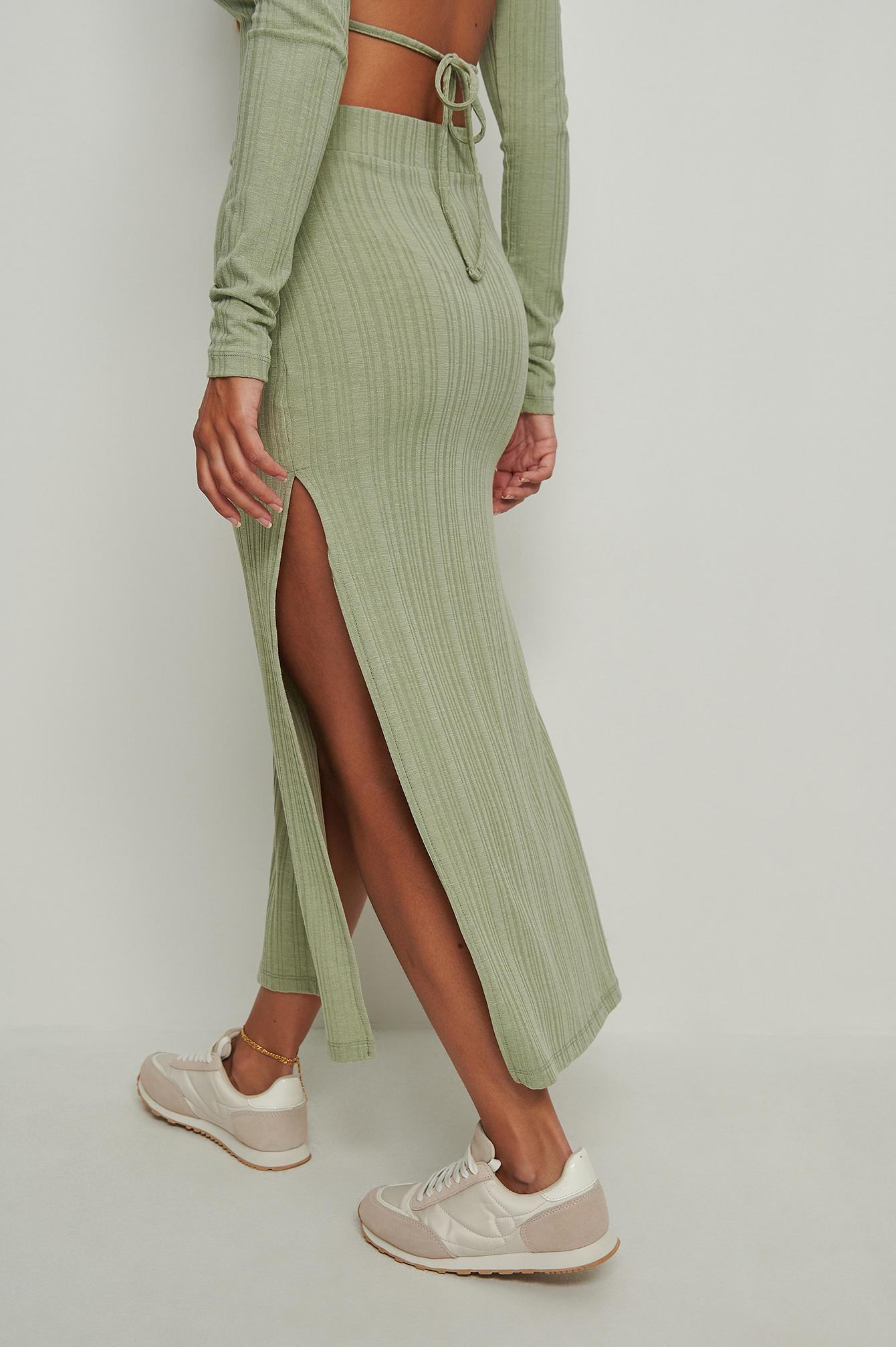 NA-KD Trend Ribbet Nederdel Med Slids - Green