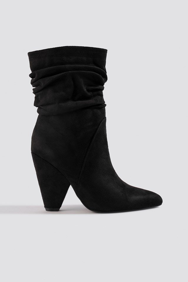 Slouchy Knee High Cone Heel Boot NA-KD Shoes