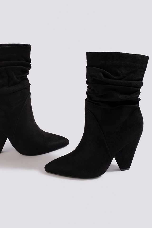 Slouchy Knee High Cone Heel Boot Black