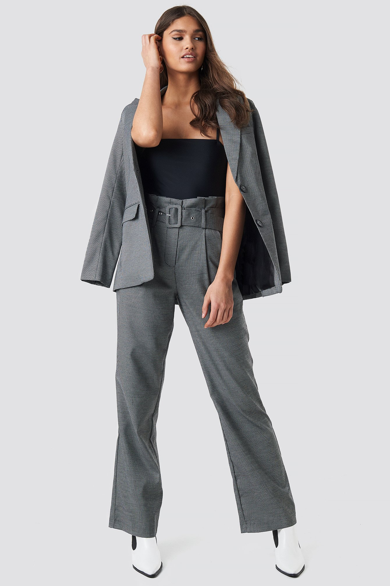 NA-KD Classic Small Check Paperbag Suit Pants - Grey