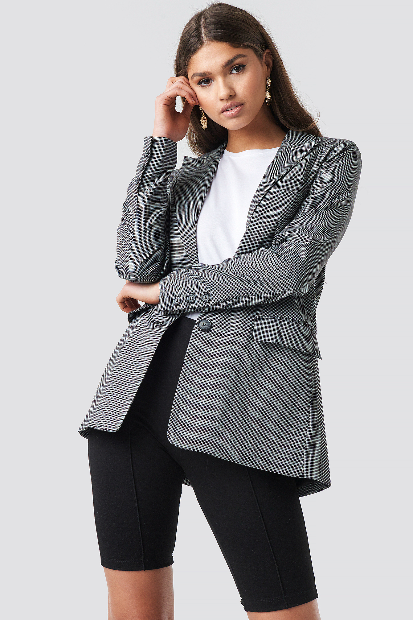 Small Check Straight Fit Blazer NA-KD.COM
