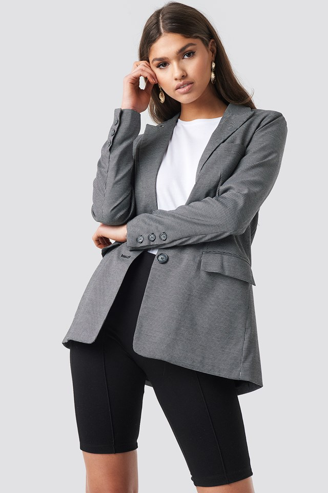 Small Check Straight Fit Blazer Black