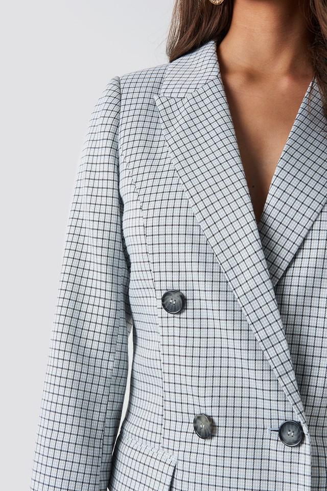 Small Checkered Blazer Dress Light Blue