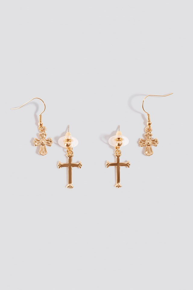 Small Cross Earrings (2-pack) Gold