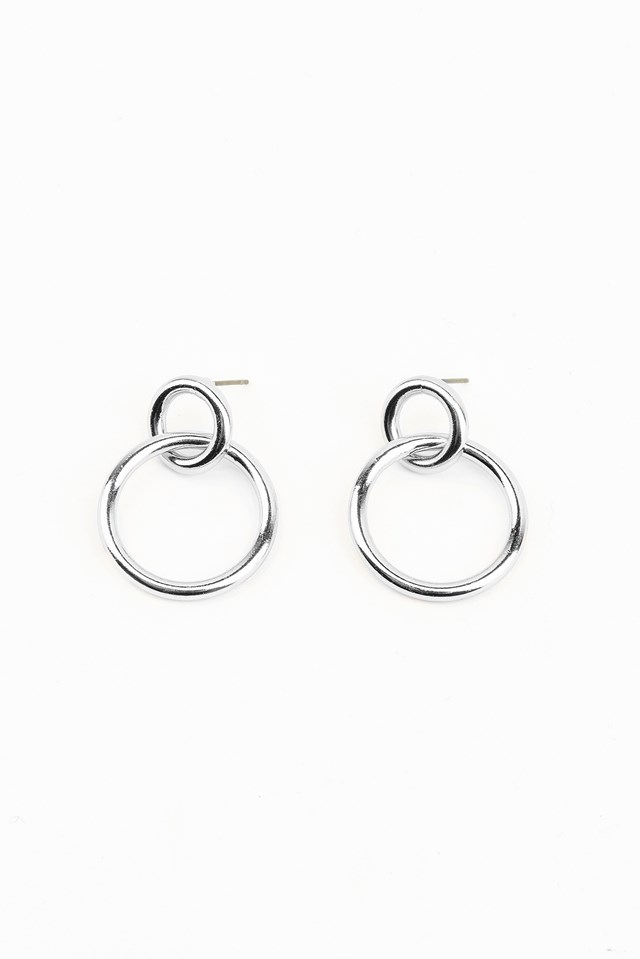 Small Double Ring Earrings Silver