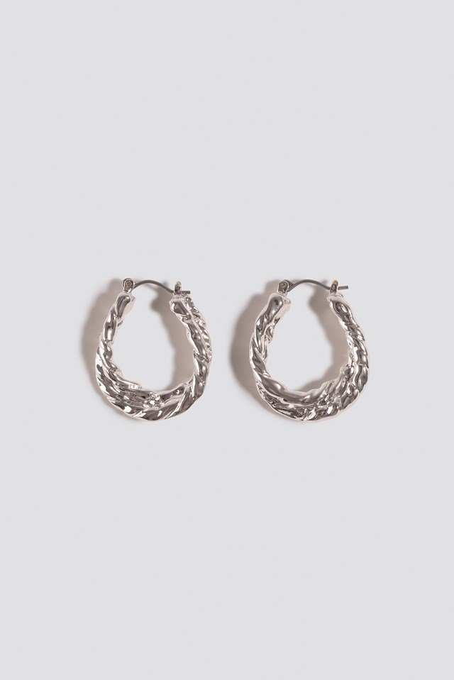 Small Hammered Braided Hoops Silver