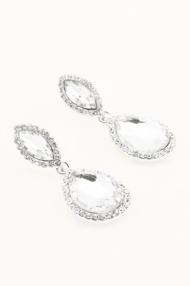 Small Hanging Marquise Earring Silver