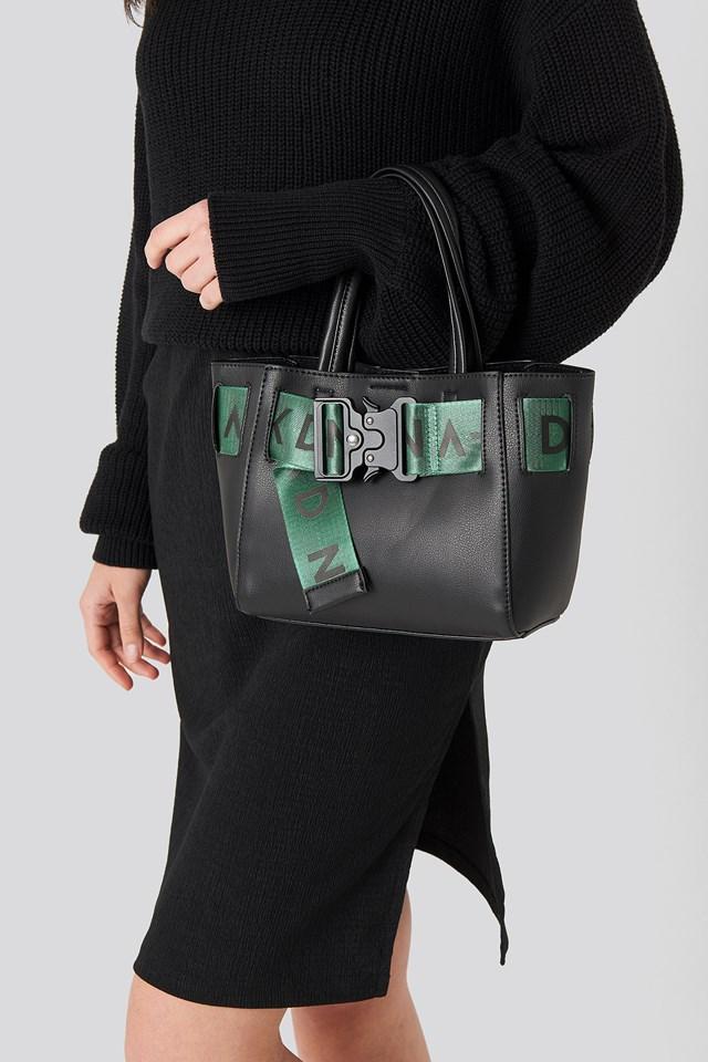 Small Logo Strap Tote Bag Black/Green