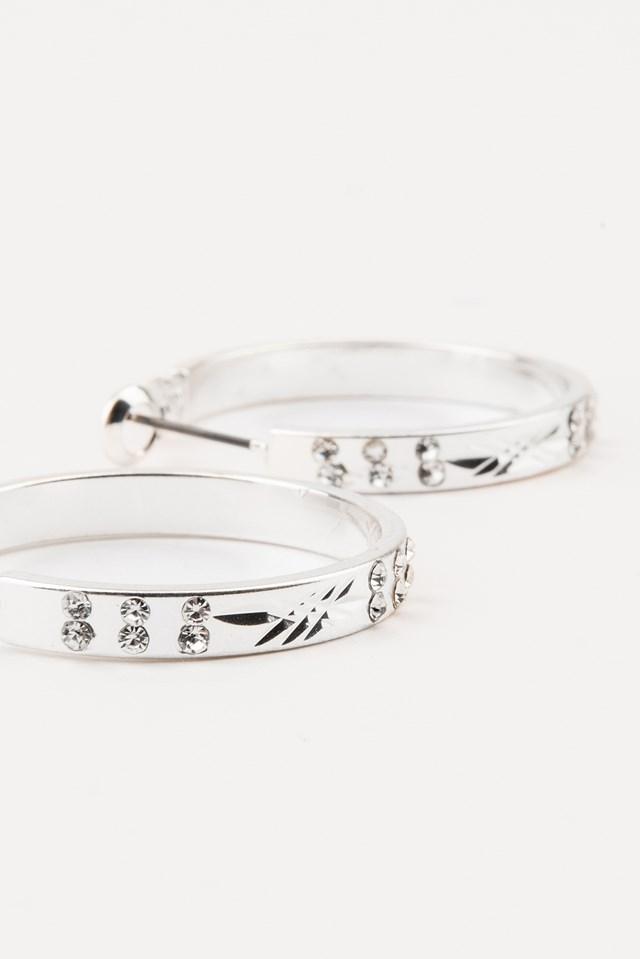 Small Loop Rhinestone Earrings Silver