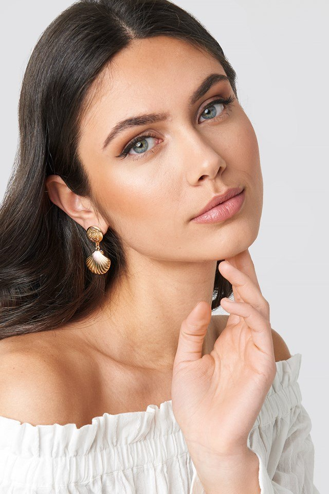 Small Shell Drop Earrings Gold