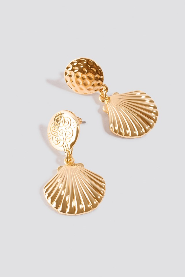 Small Shell Drop Earrings Gold