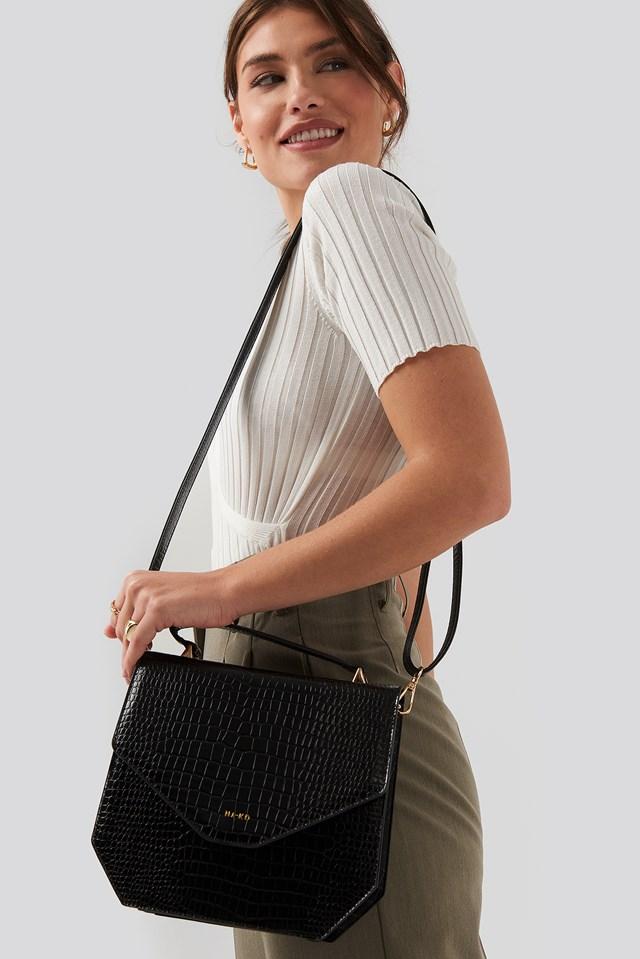 Small Squared Box Bag Black Croco