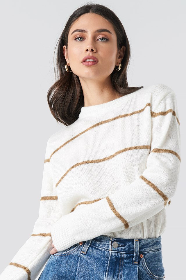 Small Stripes Knitted Sweater Offwhite