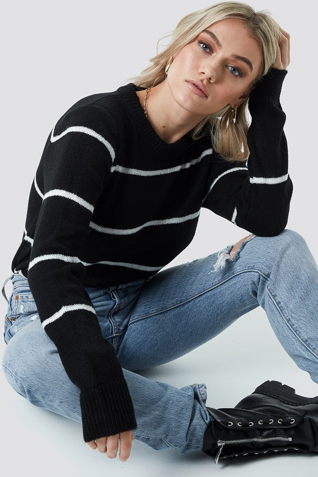 Small Stripes Knitted Sweater Black