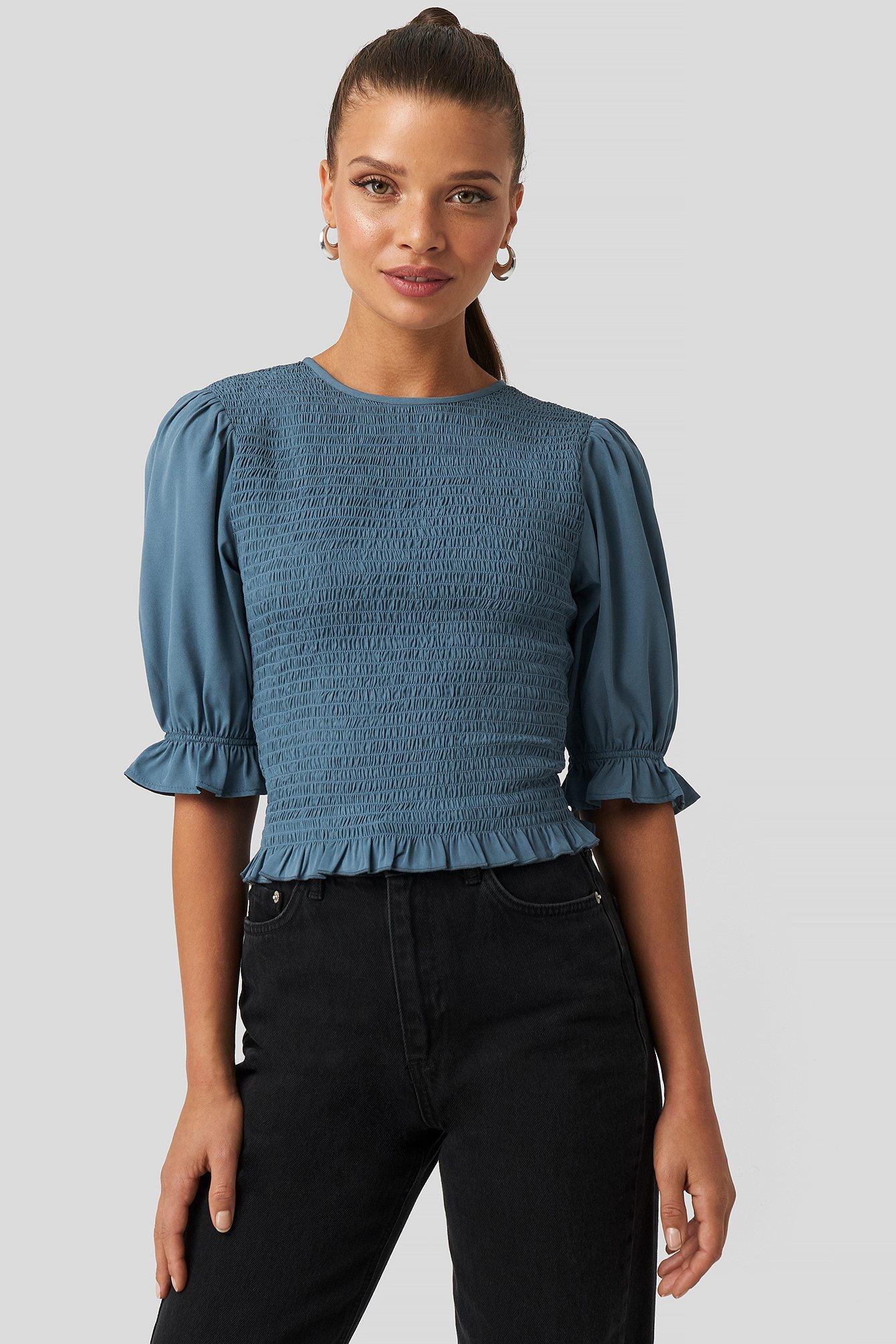Smocked Short Sleeve Blouse Bleu by Na Kd Boho