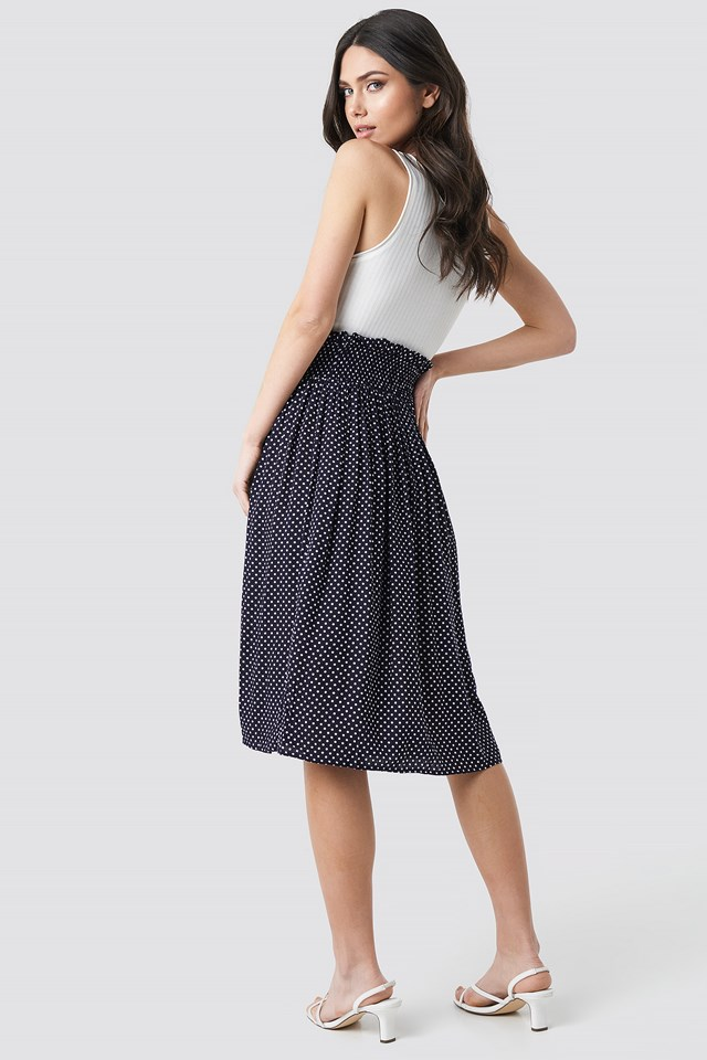 Smock Detail Dotted Skirt Dark Blue