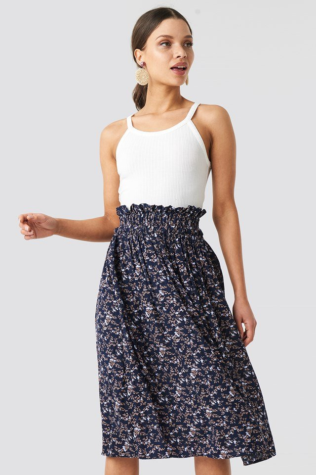 Smock Detail Flower Print Skirt Dark Blue