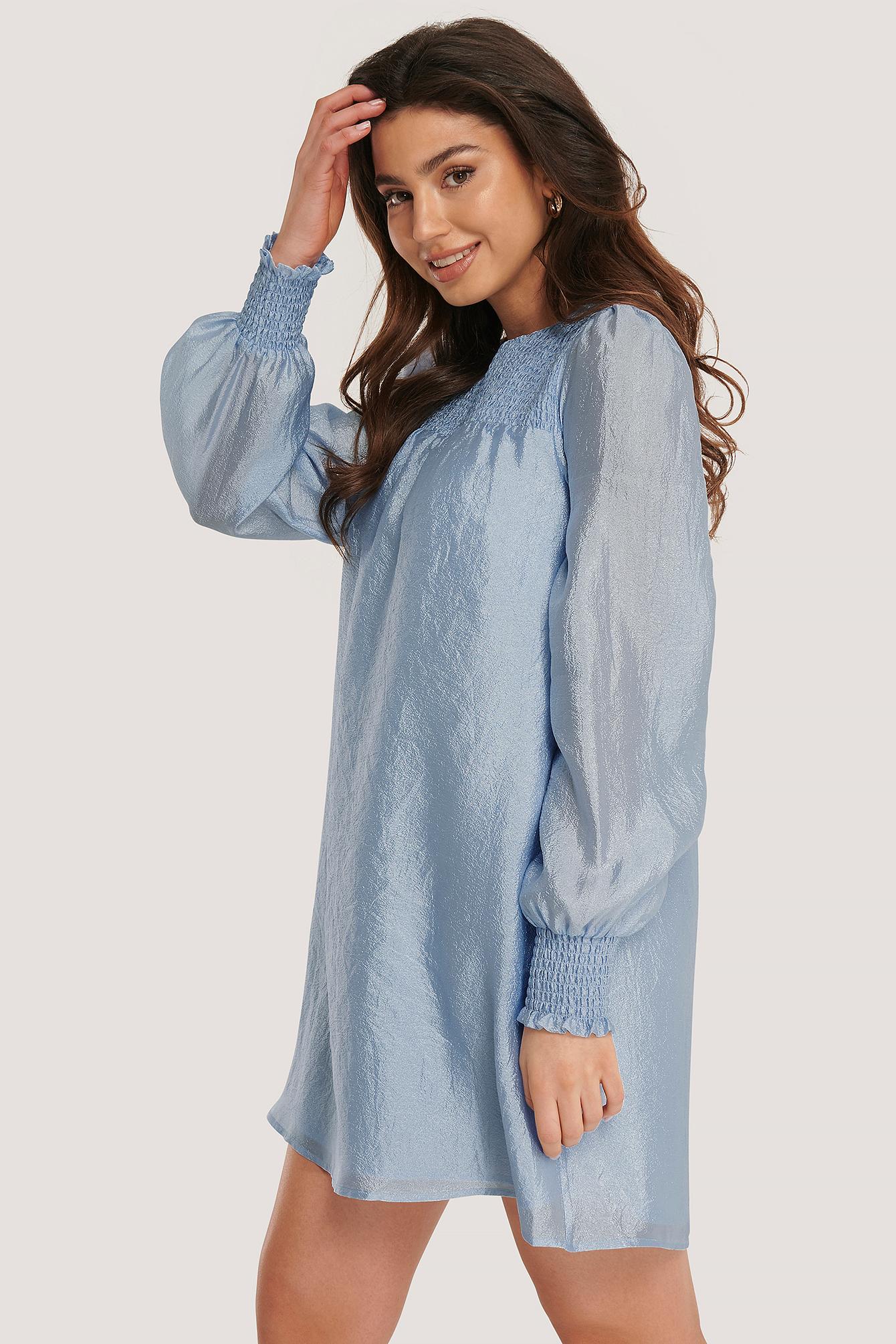 na-kd party -  Organza-Kleid Mit Smock-Detail - Blue