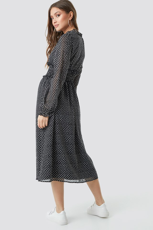 Smock Detail V-Neck Midi Dress Black/White dots