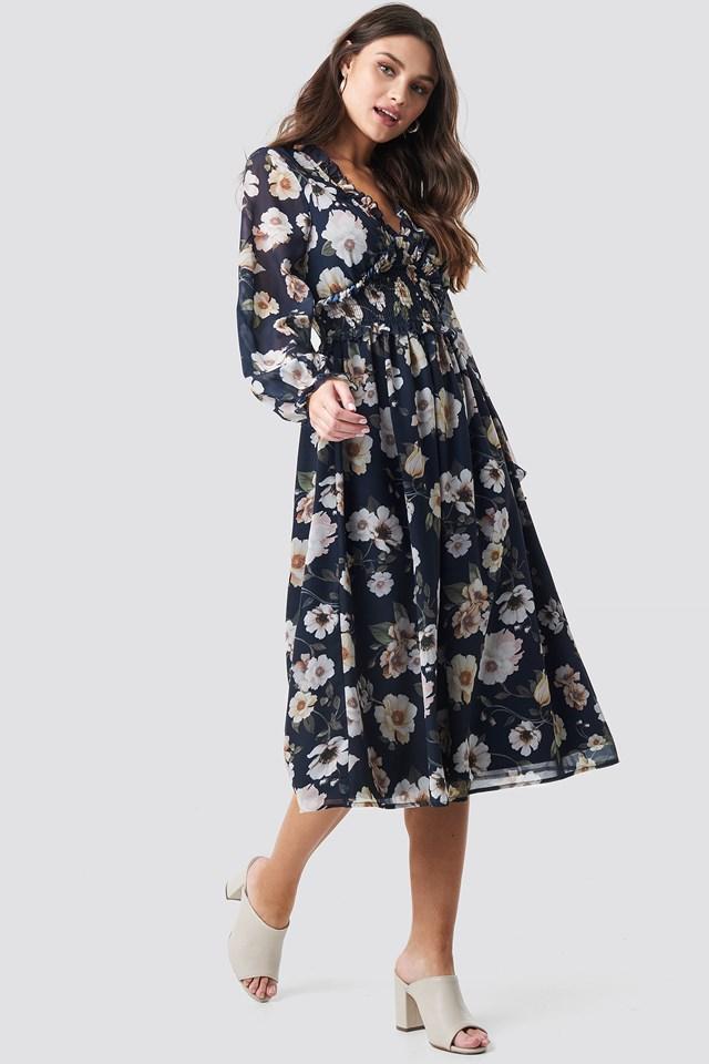 Smock Detail V-Neck Midi Dress Blue Flower Print
