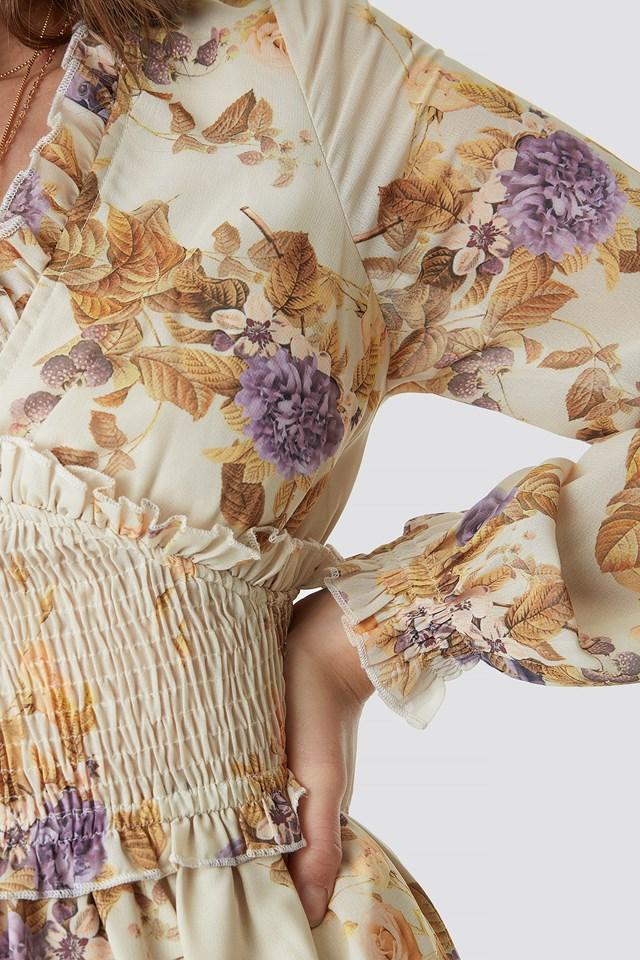 Smock Detail V-Neck Midi Dress Soft Floral Pattern