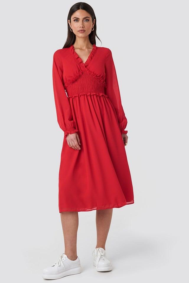 Smock Detail V-Neck Midi Dress Red