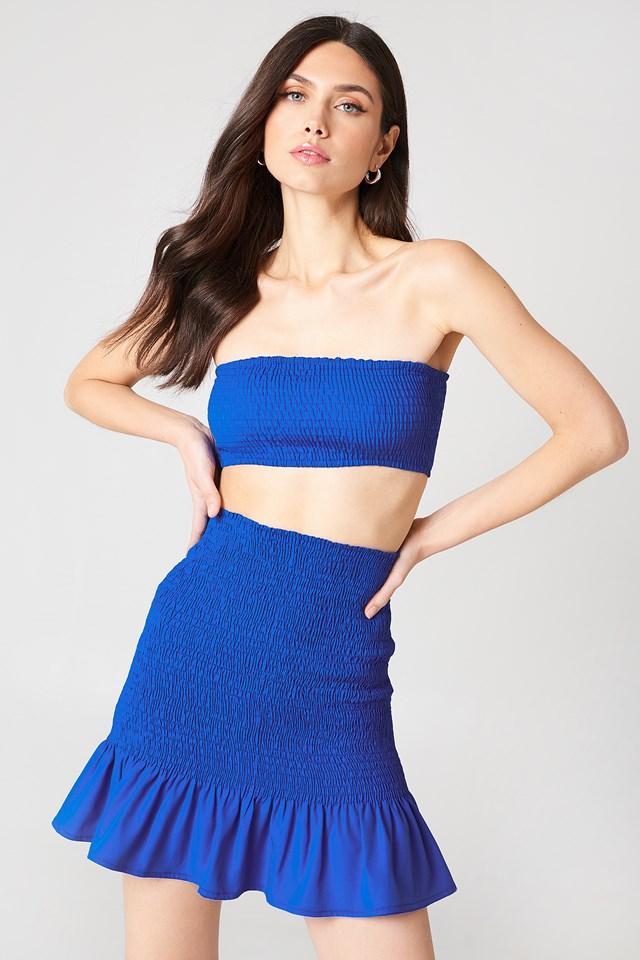 Smock Frill Detail Skirt Cobalt