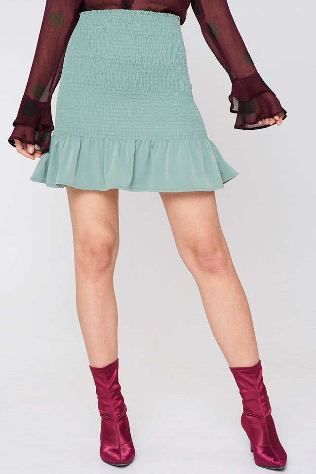 Smock Frill Detail Skirt Dusty Green