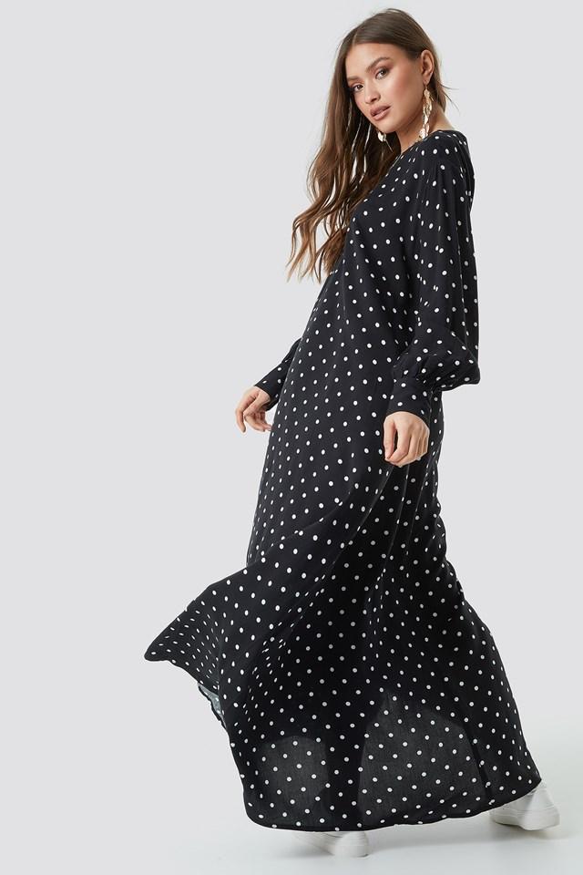 Smock Maxi Dress Black/White