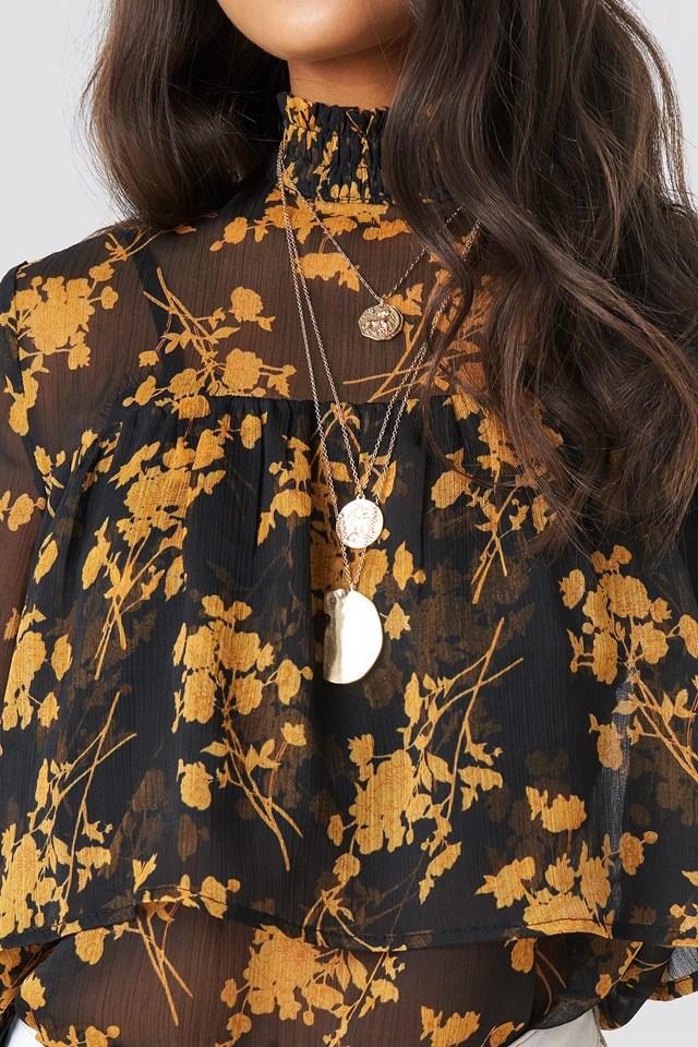 Smock Neck Layered Chiffon Top Black/Flower Print